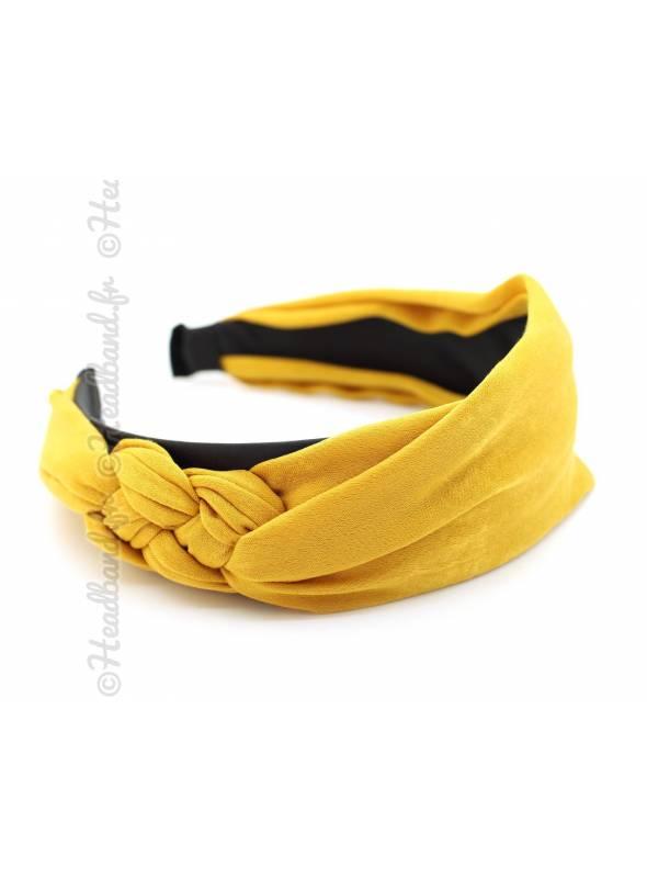 Serre-tête mousseline noeud marin moutarde