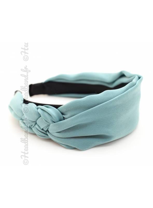 Serre-tête mousseline noeud bleu canard