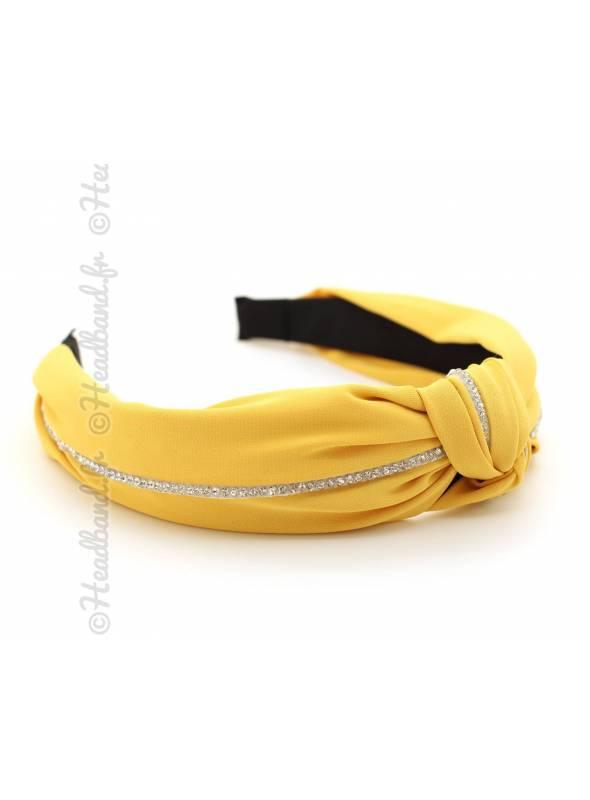 Serre-tête turban tissu rangée strass jaune