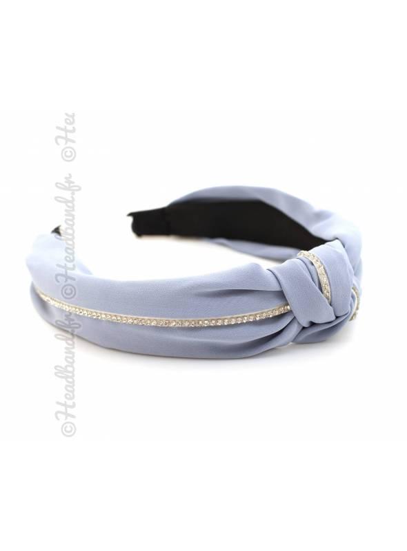 Serre-tête turban tissu rangée strass bleu