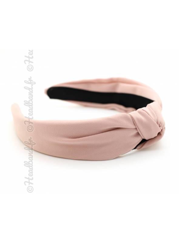 Serre-tête rétro tissu uni rose pâle