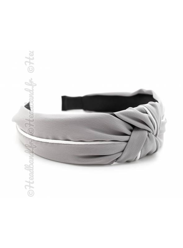 Serre-tête turban satin gris