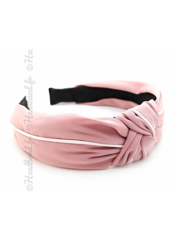 Serre-tête turban satin rose