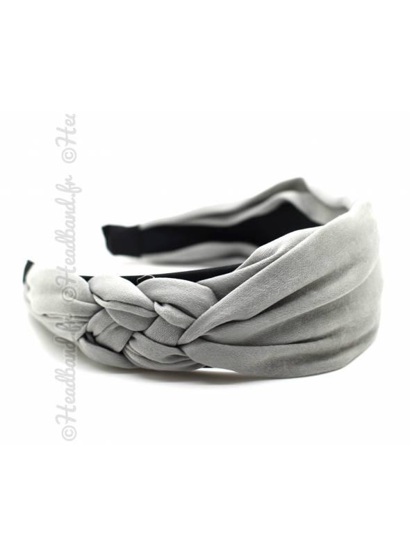 Serre-tête mousseline noeud marin gris