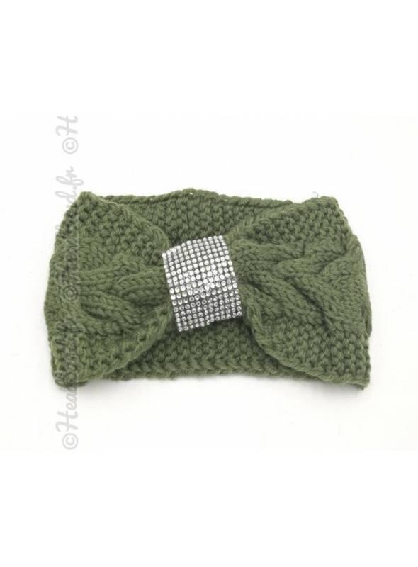 Headband tricot boucle strass kaki