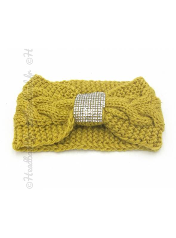 Headband tricot boucle strass moutarde