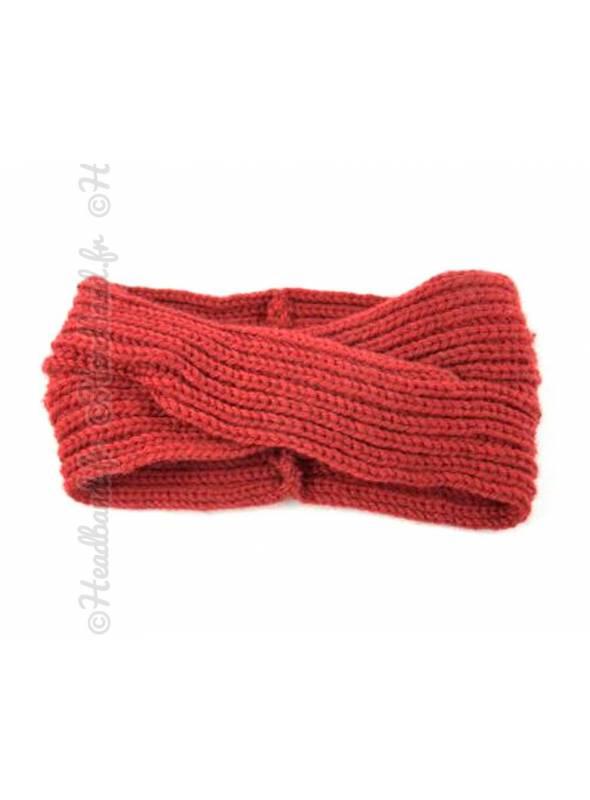 Headband tricoté croisé bordeaux