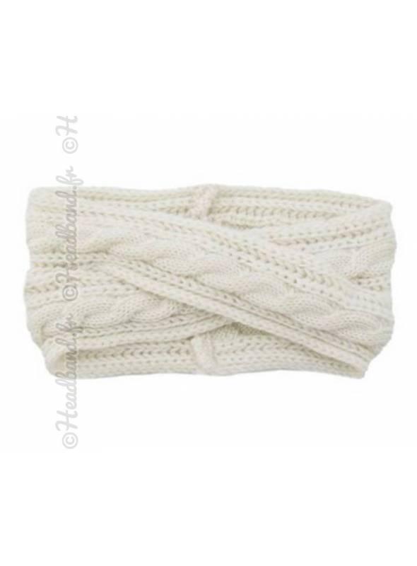 Headband croisé en maille hiver blanc
