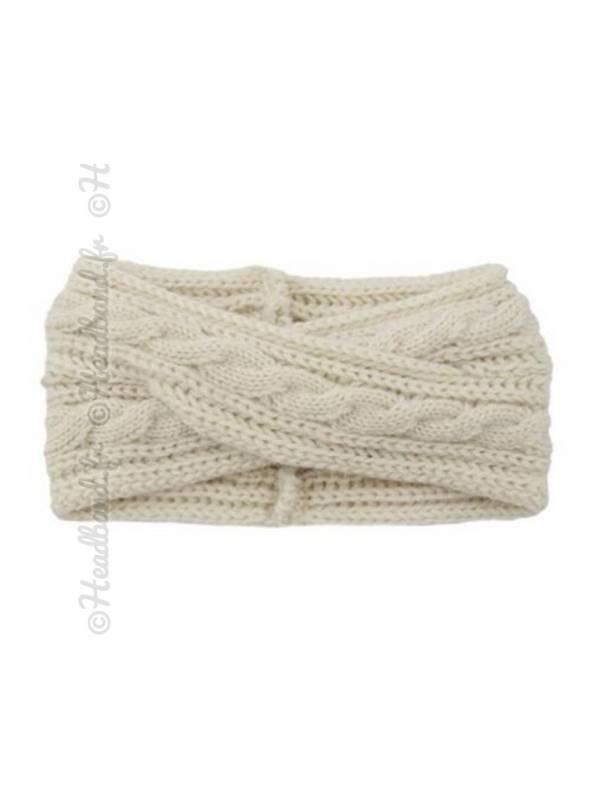 Headband croisé en maille hiver crème