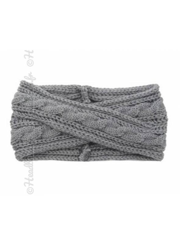 Headband croisé en maille hiver gris