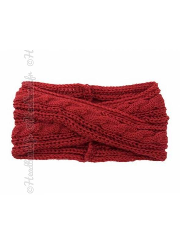 Headband croisé en maille hiver rouge