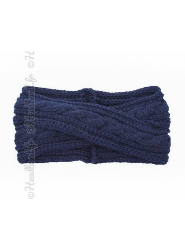 Headband croisé en maille hiver marine