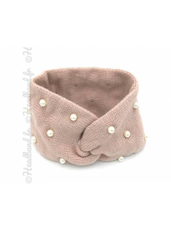 Bandeau laine orné de perles vieux rose