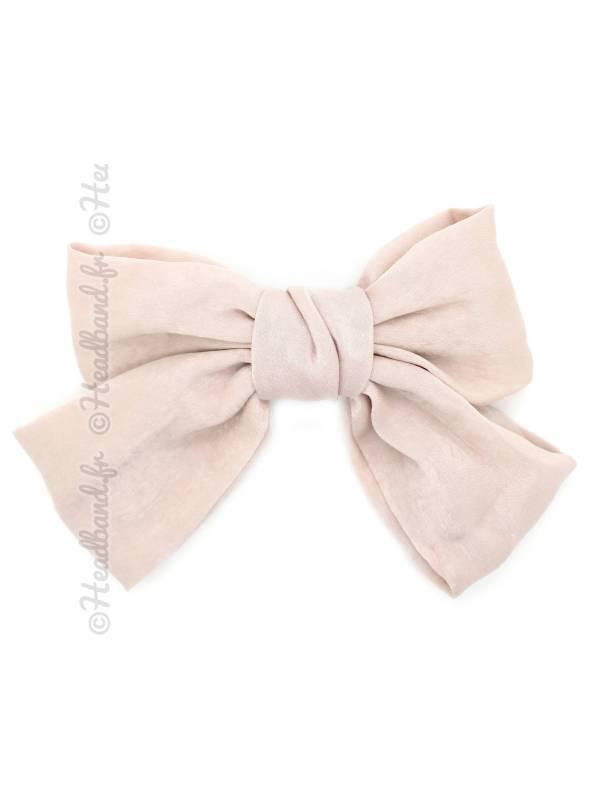 Pince maxi-noeud uni satinée rose