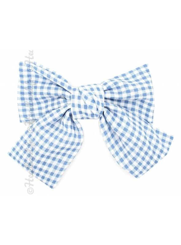 Barrette bow vichy bleu clair