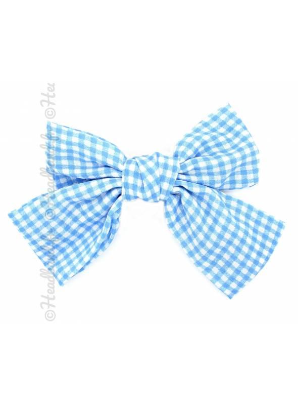 Barrette bow carreaux bleu