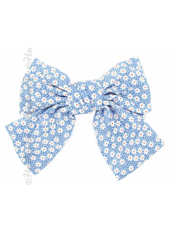 Barrette bow marguerites bleu
