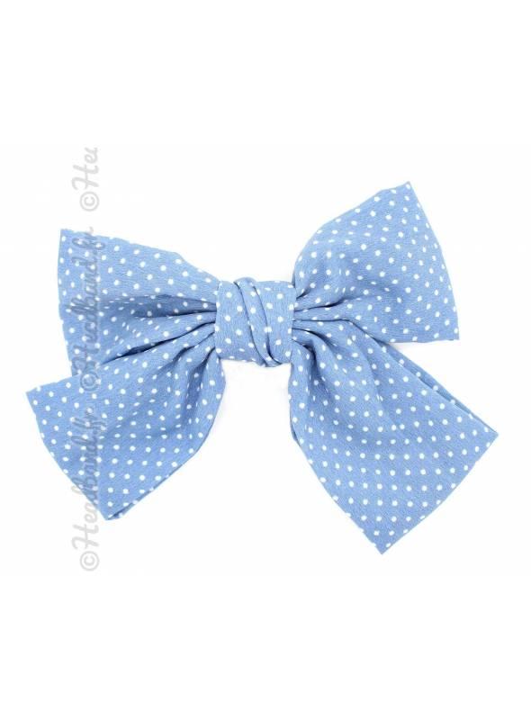 Barrette bow pois bleu clair et blanc