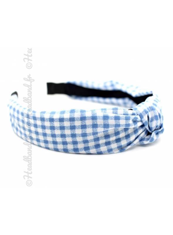 Serre-tête noeud vichy bleu clair
