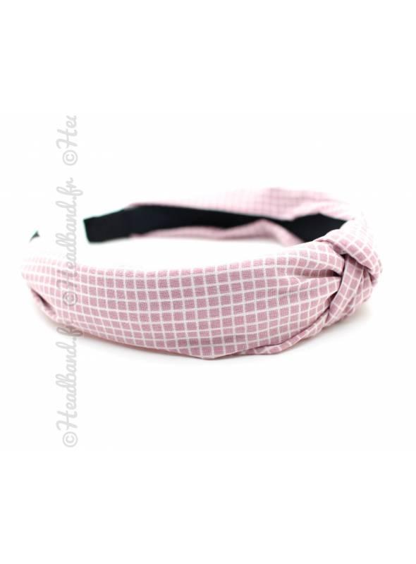 Serre-tête turban à carreaux rose