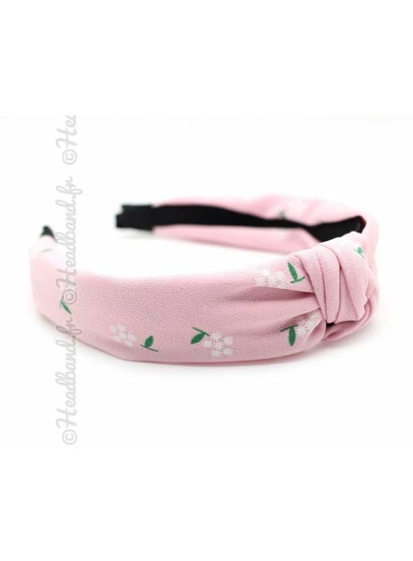 Serre-tête turban petites fleurs rose
