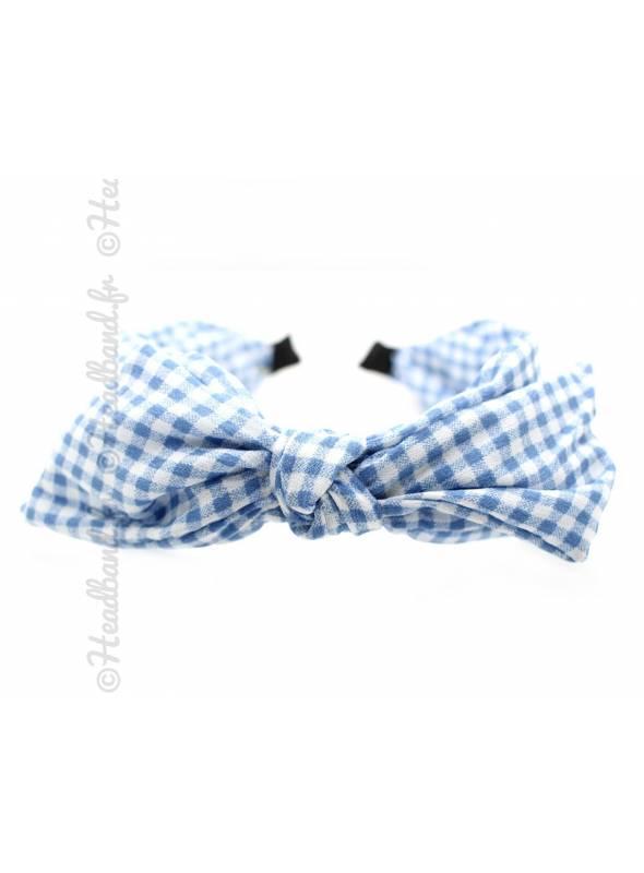Serre-tête rétro noeud carreaux bleu