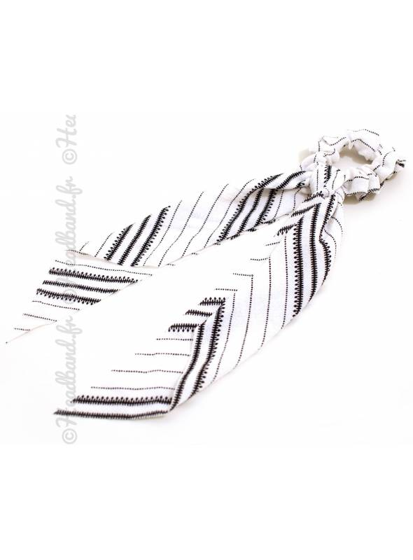 Chouchou ruban motif chaîne blanc