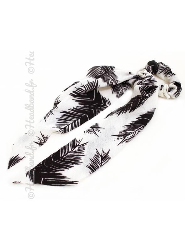 Chouchou ruban motif feuille blanc
