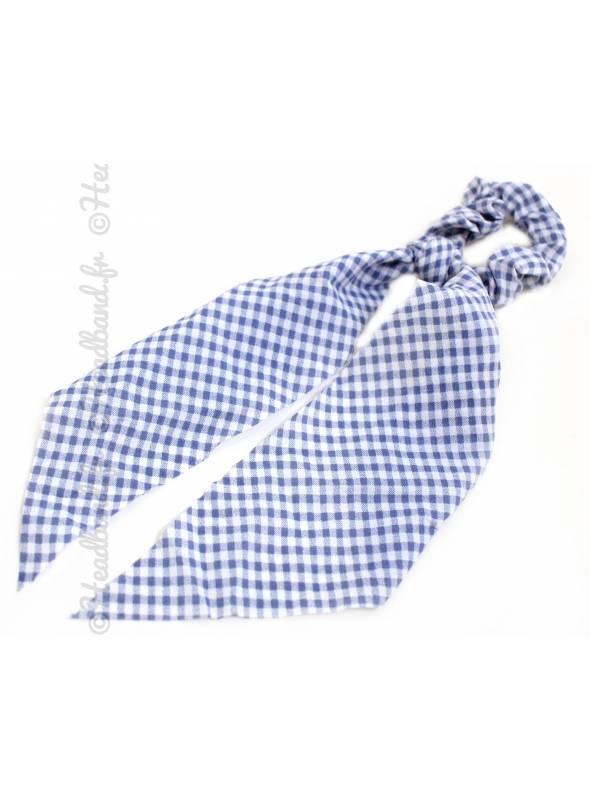 Chouchou ruban motif vichy bleu clair