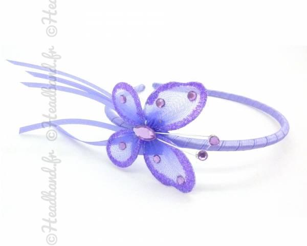 Serre-tête papillon violet