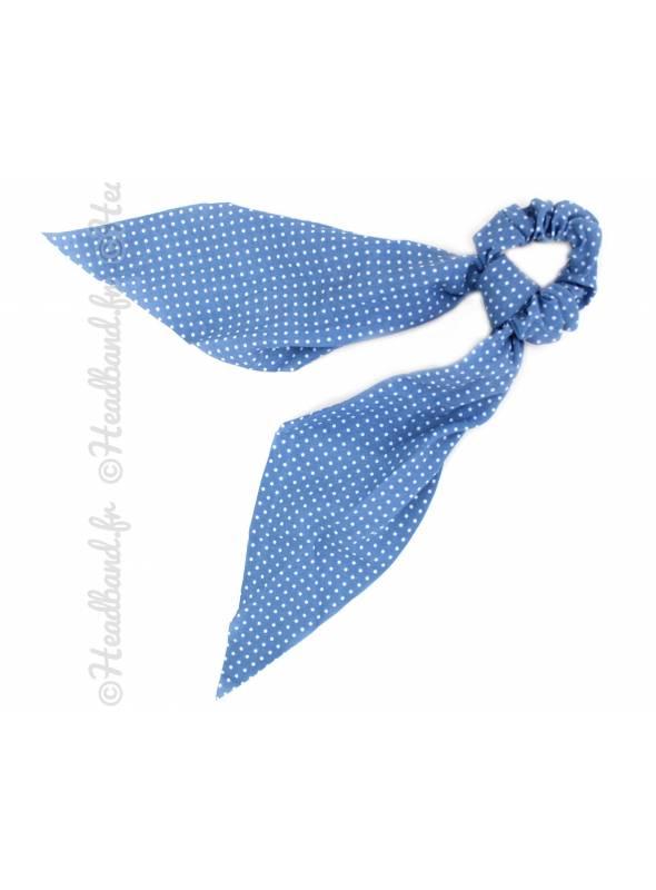 Chouchou ruban polka dot bleu clair
