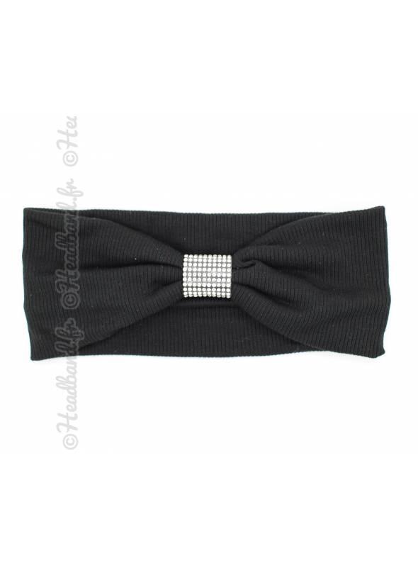 Bandeau large avec boucle cristaux noir