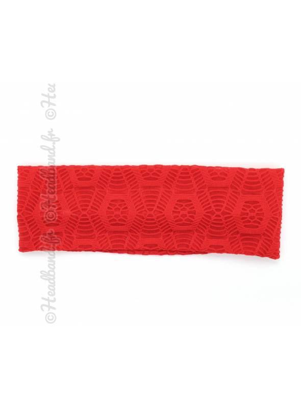 Bandeau large effet macramé rouge