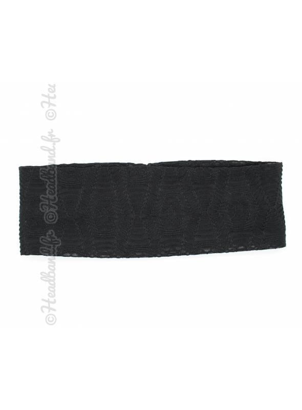 Bandeau large effet macramé noir