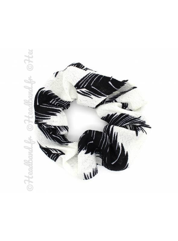Chouchou large feuilles palmier blanc