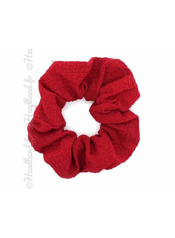 Chouchou large uni en crêpe rouge