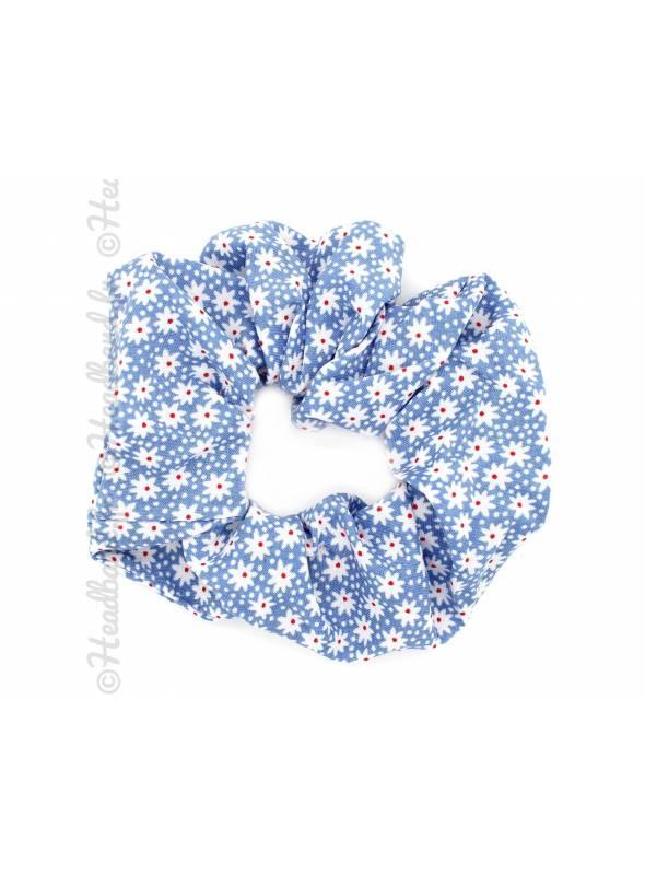 Chouchou large fleuri bleu ciel