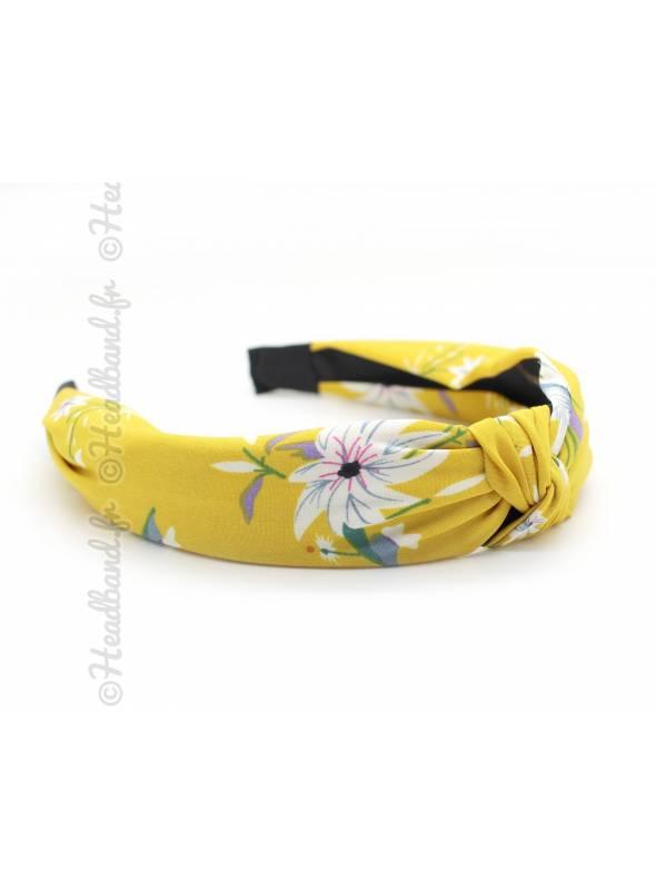 Serre-tête effet turban fleur jaune