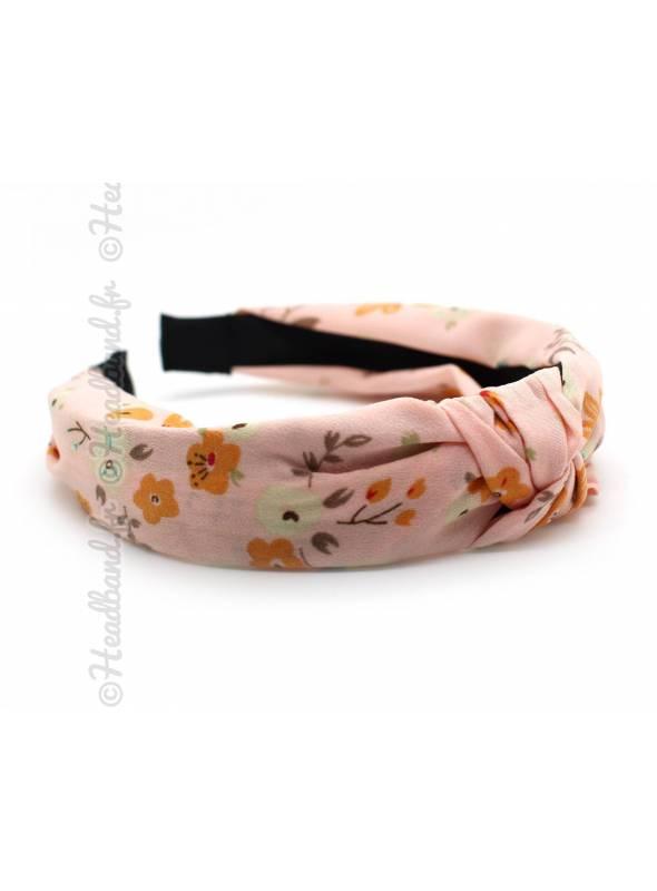 Serre-tête turban motif floral rose
