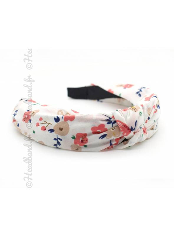 Serre-tête turban motif floral blanc