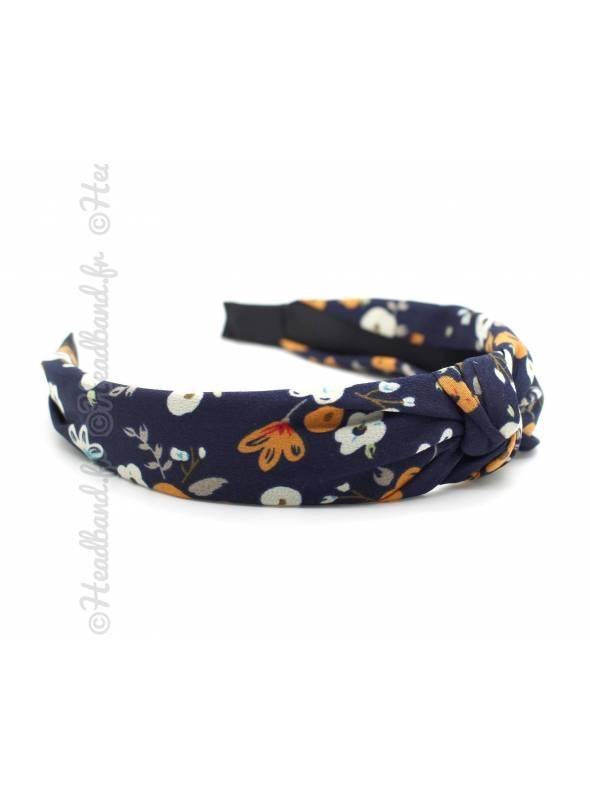 Serre-tête turban motif floral marine