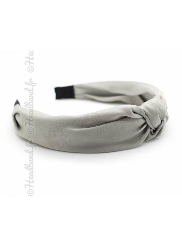 Serre-tête turban mousseline uni gris