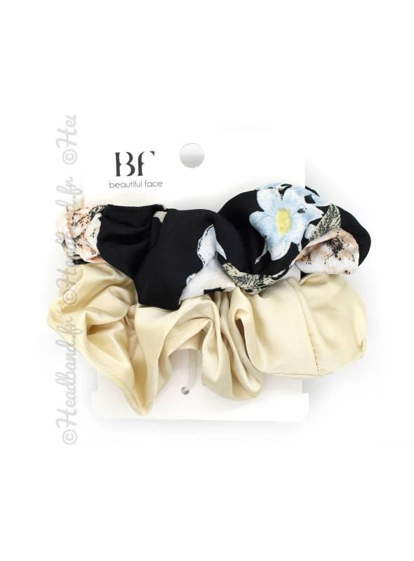 Lot de 2 chouchous fleuri noir et satin beige