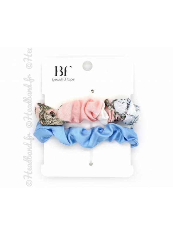 Set de 2 chouchous fleuri rose et satin bleu
