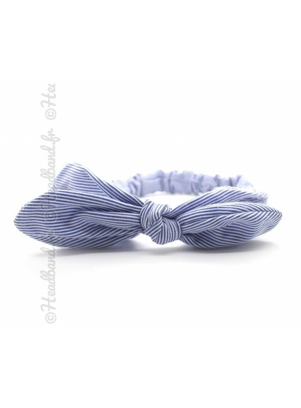 Bandeau stretch rayé noeud bleu