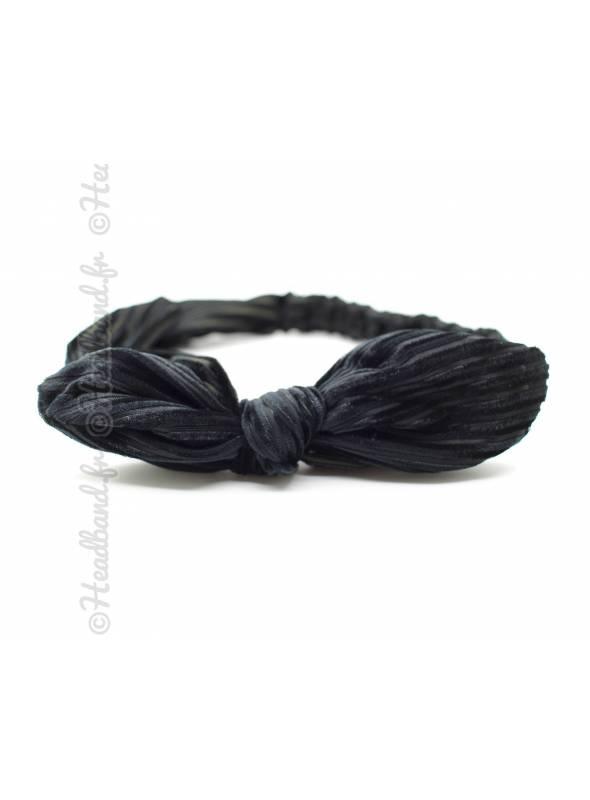 Bandeau noeud côtelé velours noir