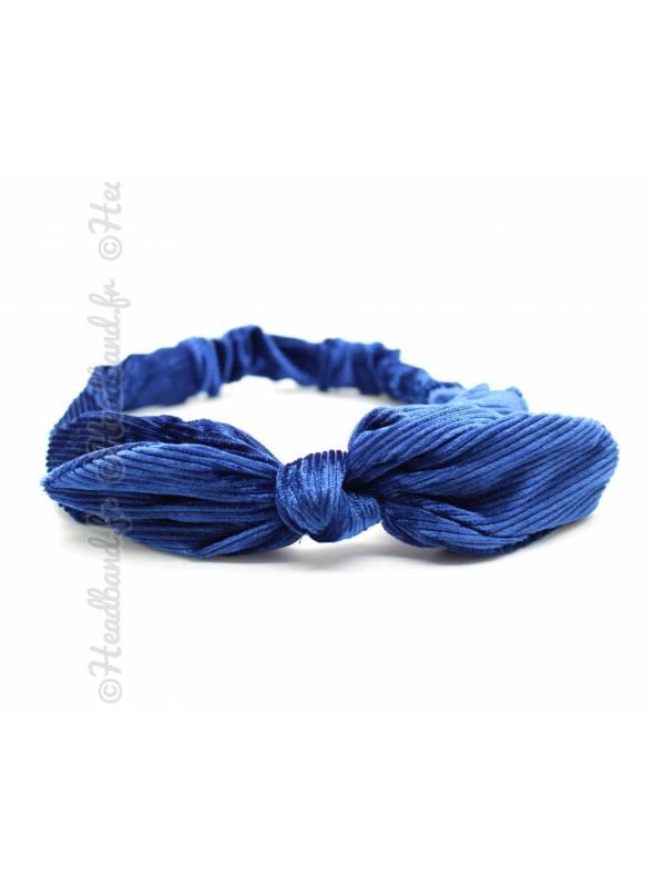 Headband élastiqué noeud uni bleu marine