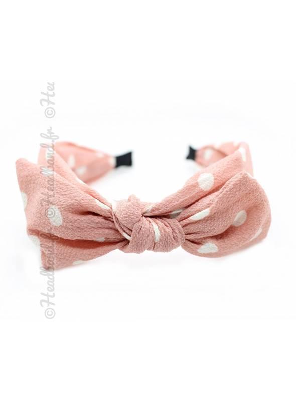 Serre-tête noeud pois blanc et rose