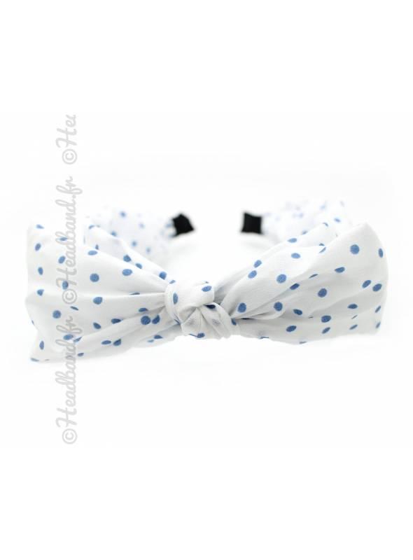 Serre-tête rétro noeud pois blanc et bleu