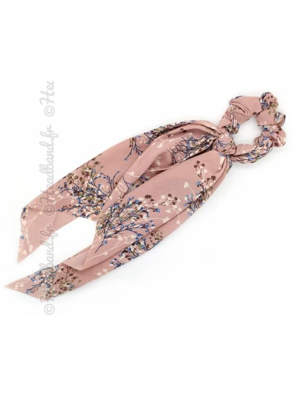 Chouchou long fleuri rose